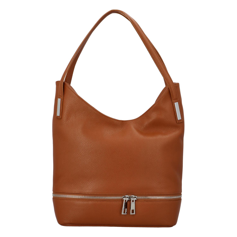 Dámská kožená měkká kabelka přes rameno světle hnědá - ItalY Nellis