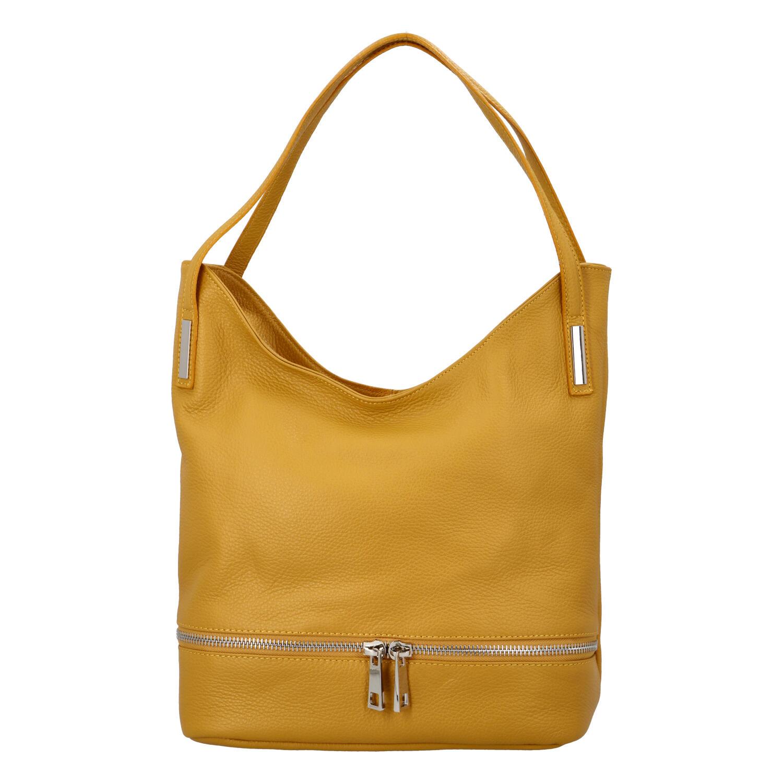 Dámská kožená měkká kabelka přes rameno žlutá - ItalY Nellis