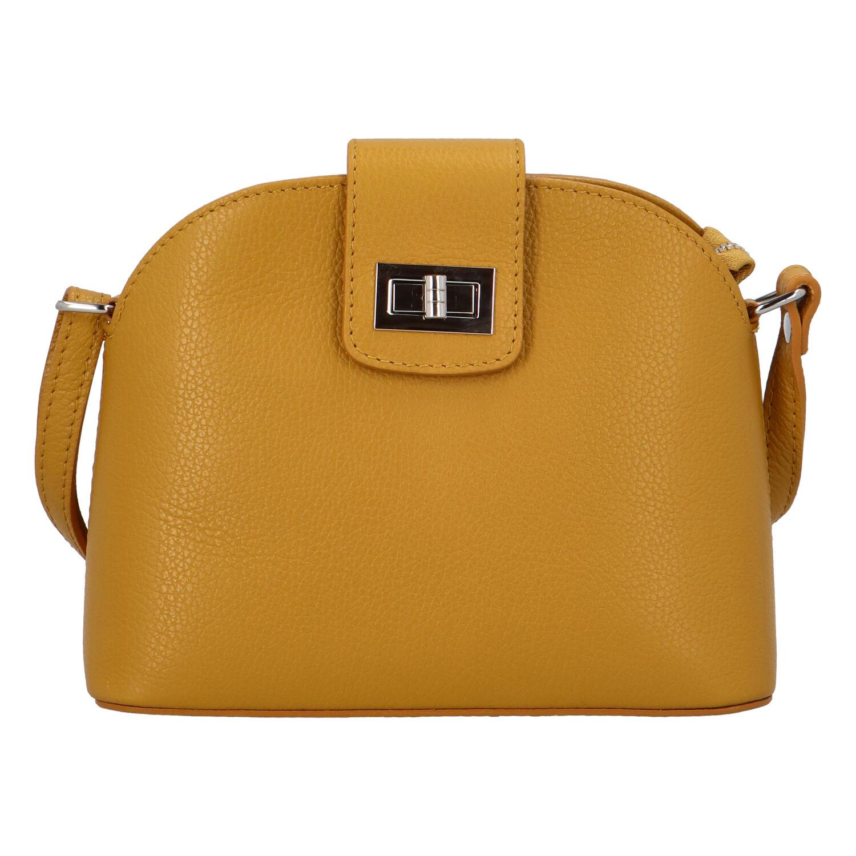 Dámská kožená crossbody kabelka žlutá - ItalY Brokylon