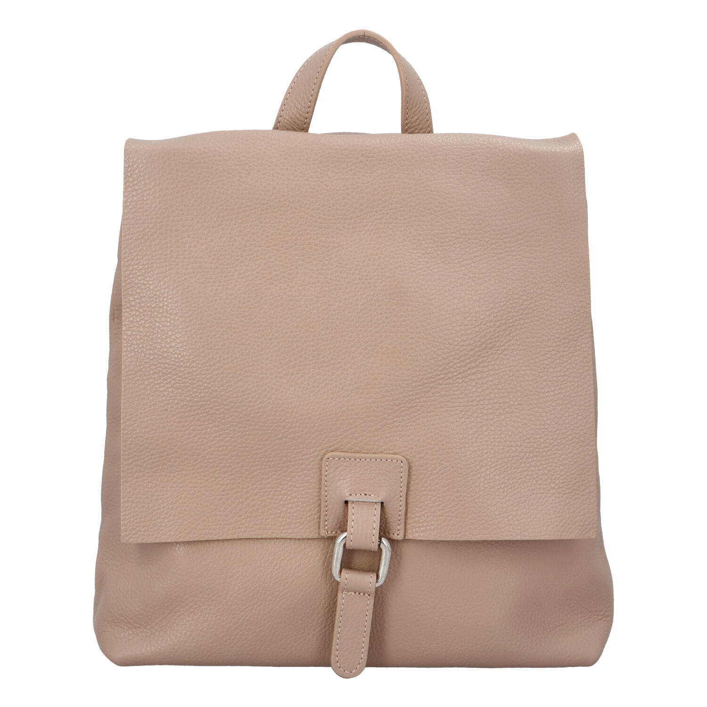Dámský kožený batůžek kabelka růžový - ItalY Francesco