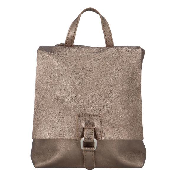 Dámský kožený batůžek kabelka bronzový - ItalY Francesco