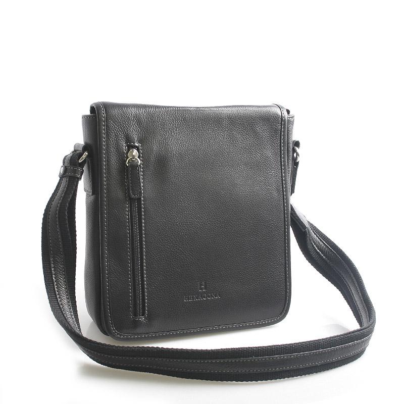 Černá kožená taška přes rameno Hexagona 461326
