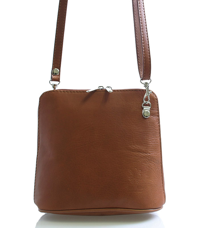 Hnědá dámská kožená kabelka crossbody 10053