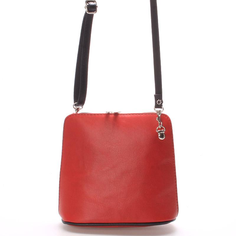 Červená dámská kožená kabelka crossbody s černým zipem 10053