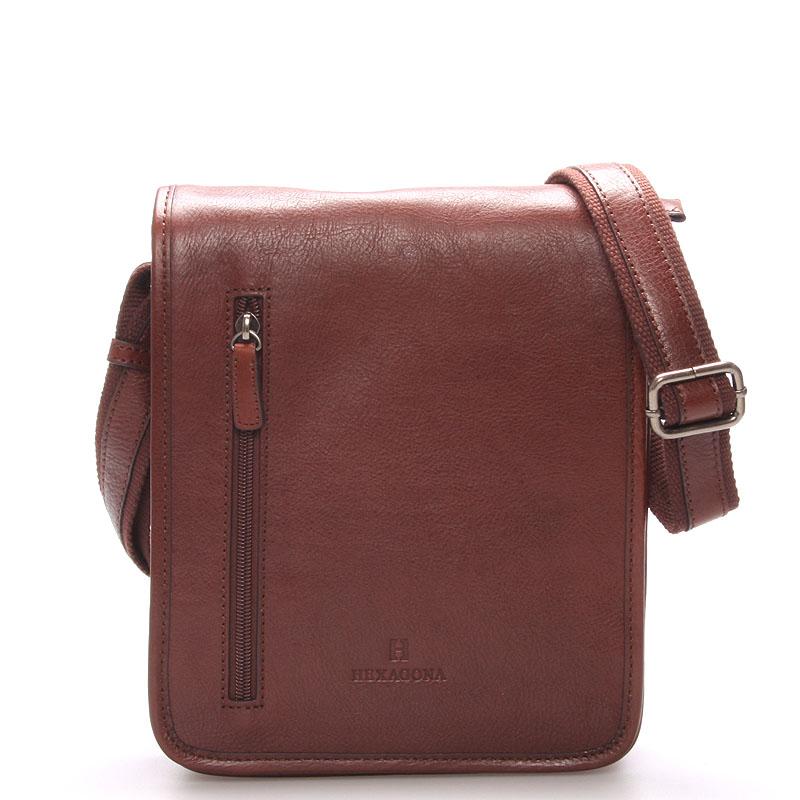 Hnědá luxusní kožená taška přes rameno Hexagona 23483