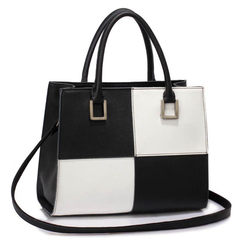 Luxusní dámská kožená kabelka černo-bílá - LEESUN Sofia