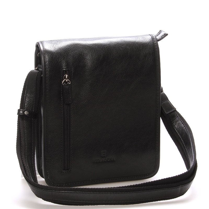 Černá luxusní kožená taška přes rameno Hexagona 23483