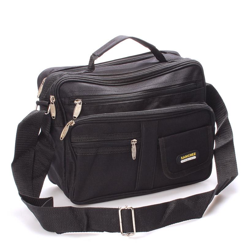 Pánská látková taška přes rameno černá - Sanchez Riccardo