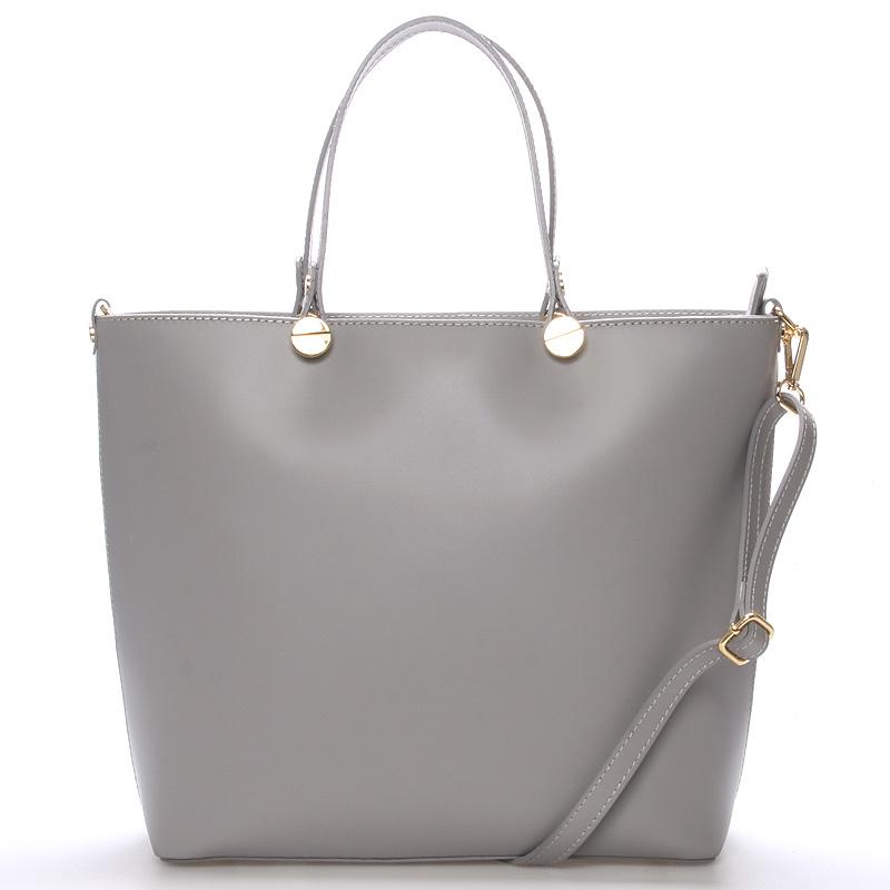 Dámská kožená kabelka šedá - ItalY Elza