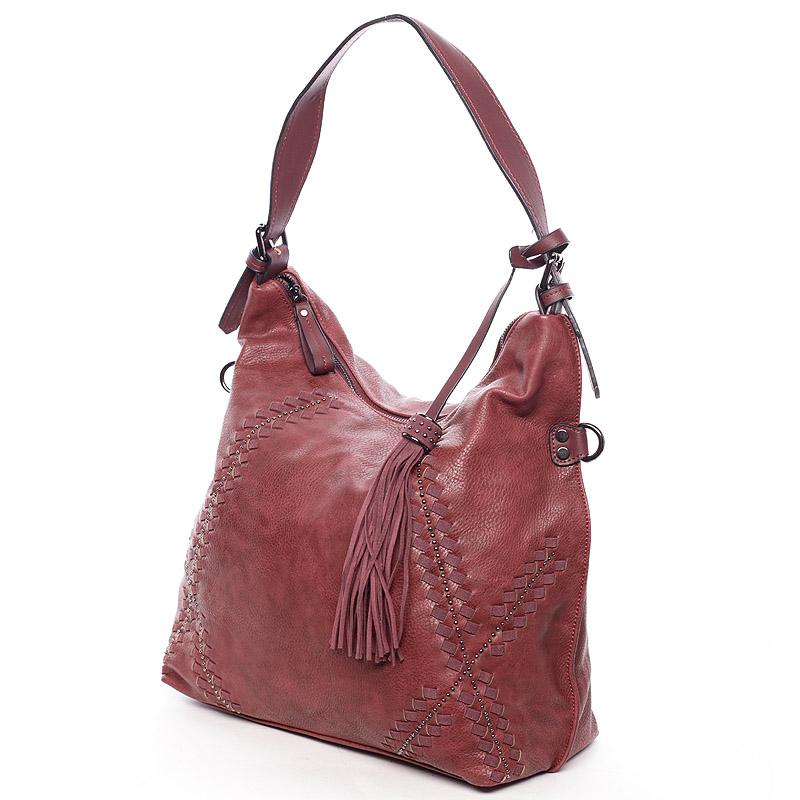Originální dámská vínová kabelka s odleskem- MARIA C Gelasia