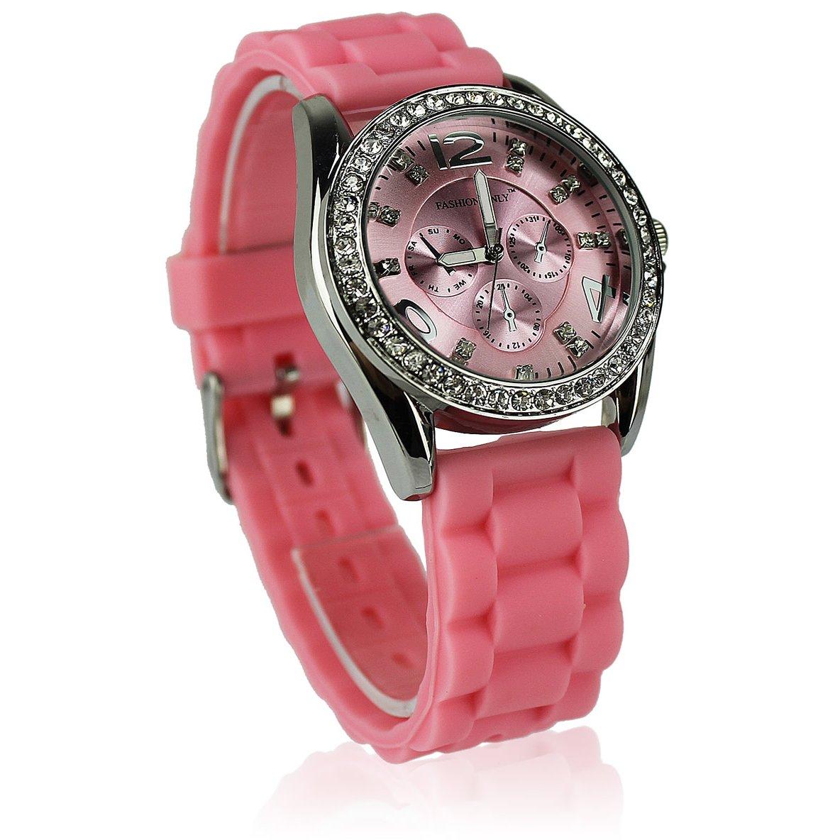 Dámske hodinky s kamínky růžové  - Fashion Only