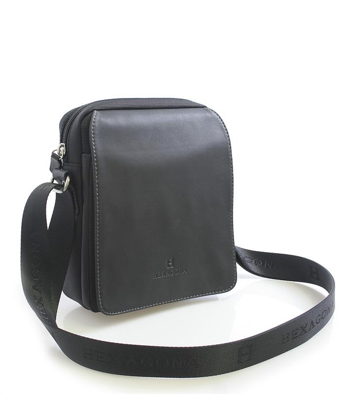 Černá pánská kožená taška přes rameno Hexagona 299162