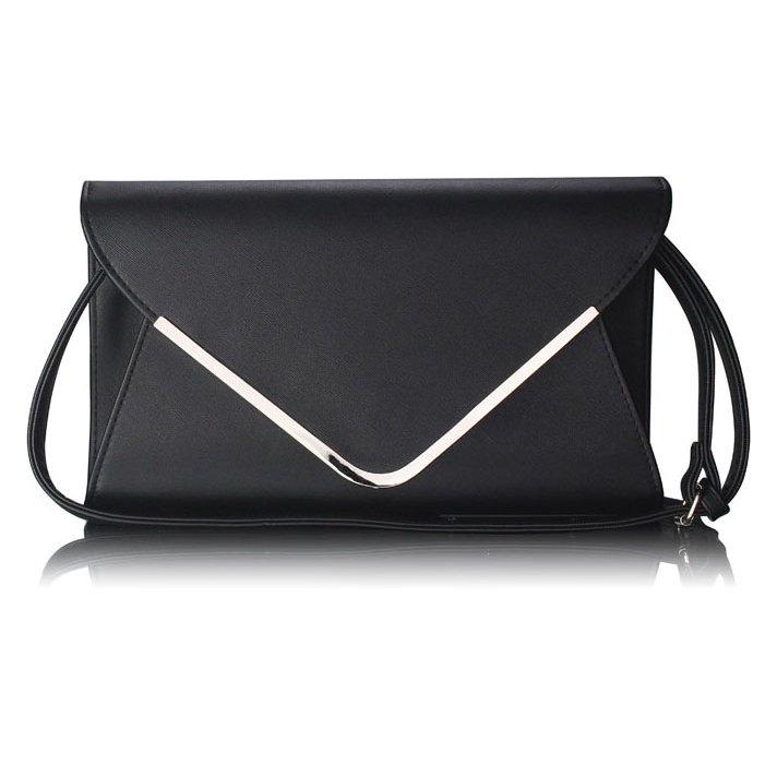 Elegantní černá kabelka-psaníčko LSE00166B