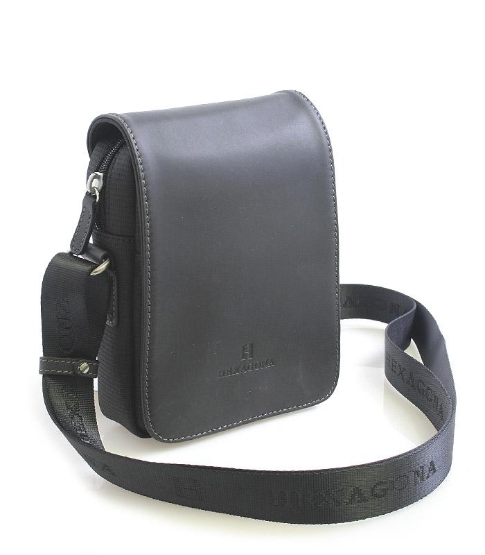 Luxusní pánská kožená kabelka přes rameno černá - Hexagona Filippo