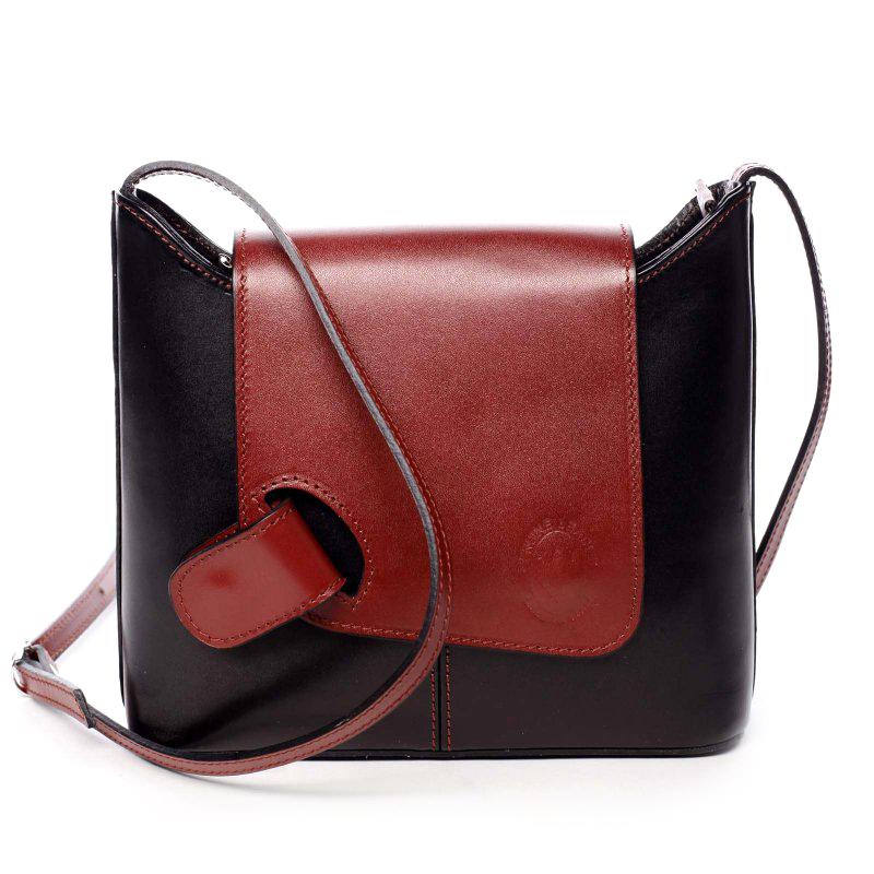 Dámská kožená crossbody kabelka černo červená - ItalY Misty