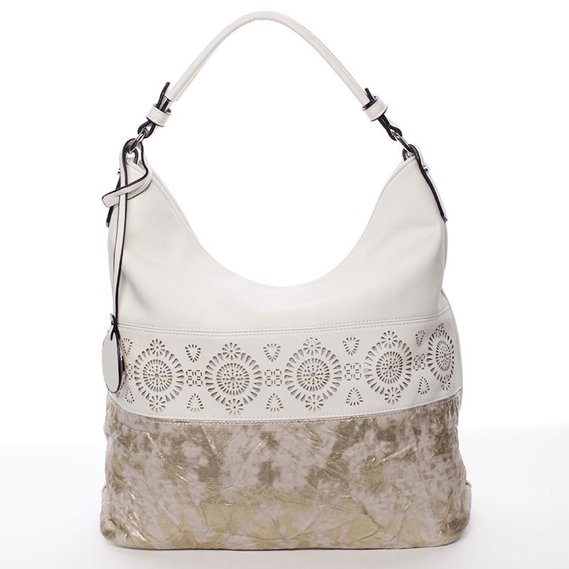 Luxusní a exkluzivní měkká velká dámská kabelka béžová - MARIA C Missa