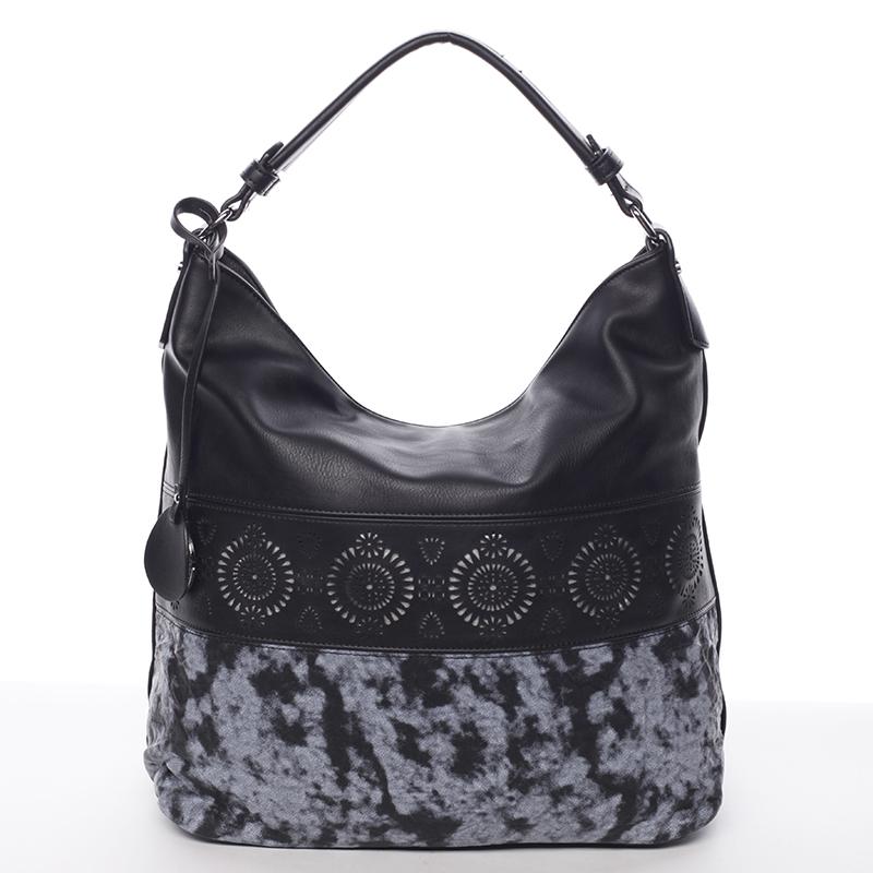 Luxusní a exkluzivní měkká velká dámská kabelka černá - MARIA C Missa