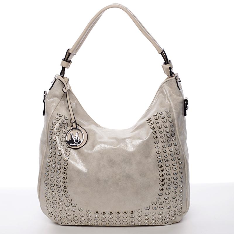 Luxusní krémově béžová kabelka přes rameno s odleskem - MARIA C Melissa