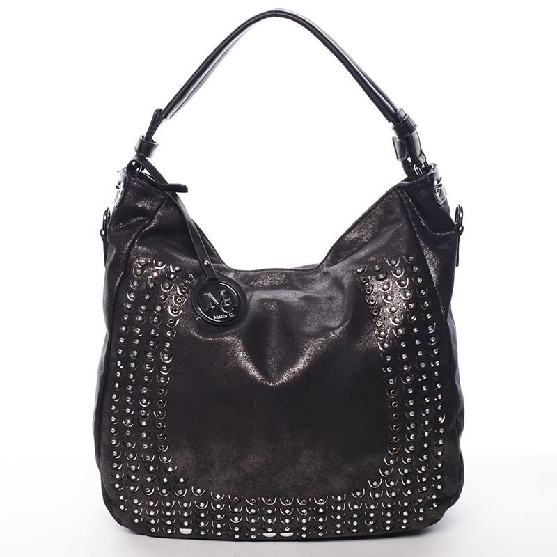 Luxusní černá kabelka přes rameno s odleskem - MARIA C Melissa