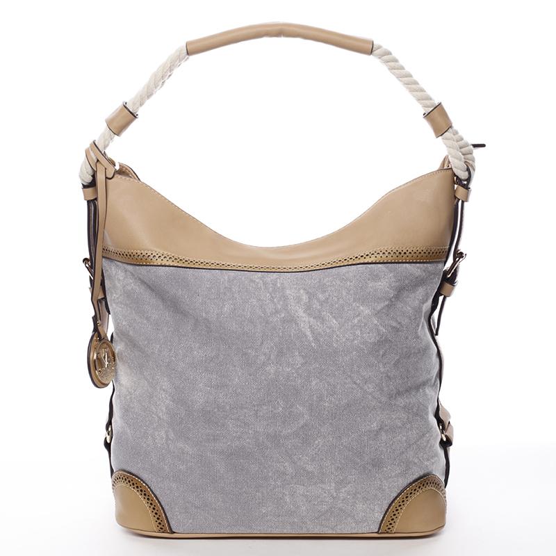 Velká atraktivní kabelka přes rameno šedá - MARIA C Mimis