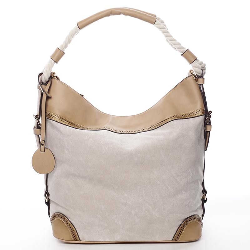 Velká atraktivní kabelka přes rameno béžová - MARIA C Mimis