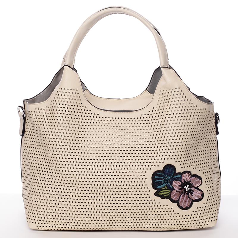 Moderní dámská béžová perforovaná kabelka - Maria C Melaney