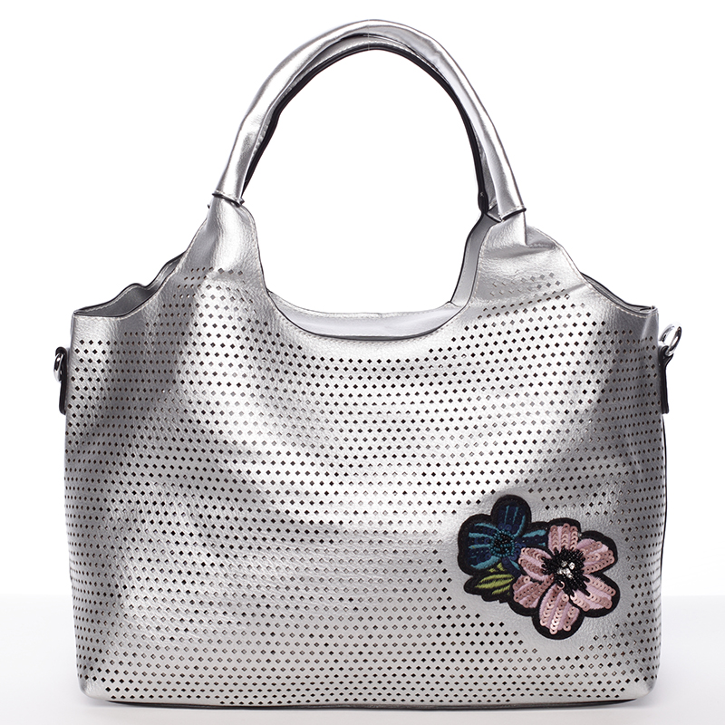 Moderní dámská stříbrná perforovaná kabelka - Maria C Melaney