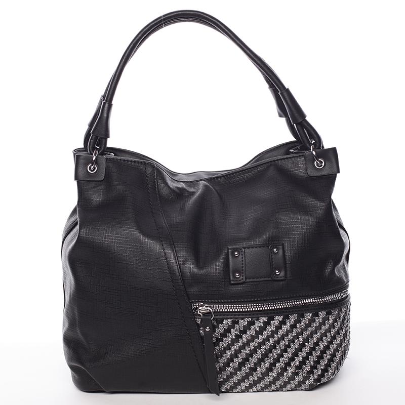 Dámská jemně strukturovaná černá kabelka - Maria C Meggy