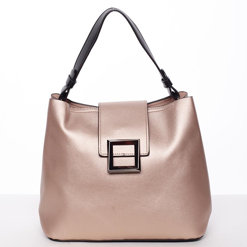 Trendy elegantní dámská kabelka lesklá růžová - Tommasini Alejandra