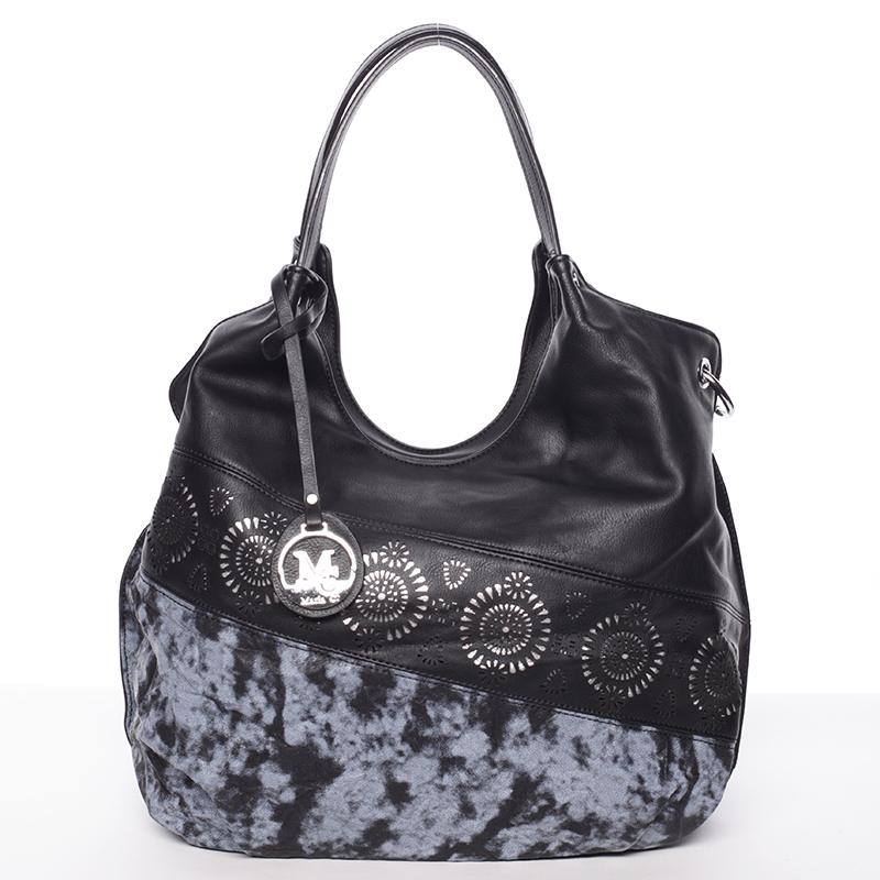 Módní měkká středně velká dámská kabelka černá - MARIA C Cameron