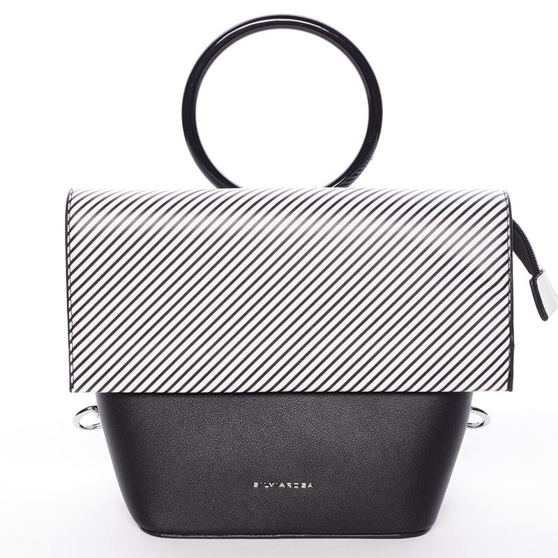 Originální a unikátní černo bílá kabelka/ batůžek - Silvia Rosa Marmara