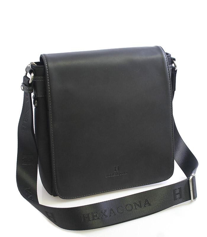 Černá kožená taška přes rameno Hexagona 299156