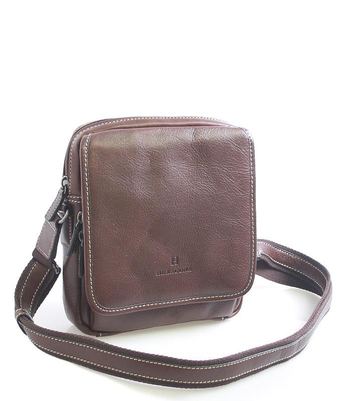 Hnědá luxusní kožená taška přes rameno Hexagona 23898