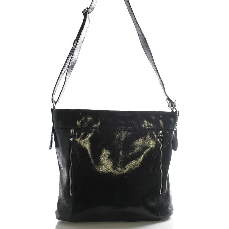 Černá větší kožená crossbody kabelka ItalY Bella