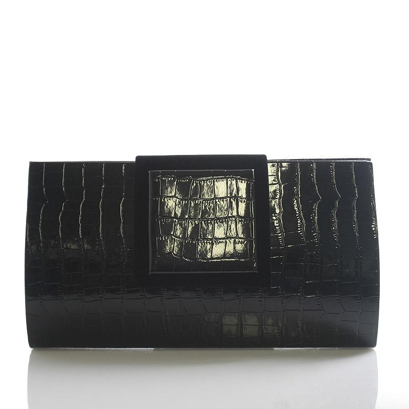 Černé lakované kroko psaníčko kabelka Royal Style Gloria