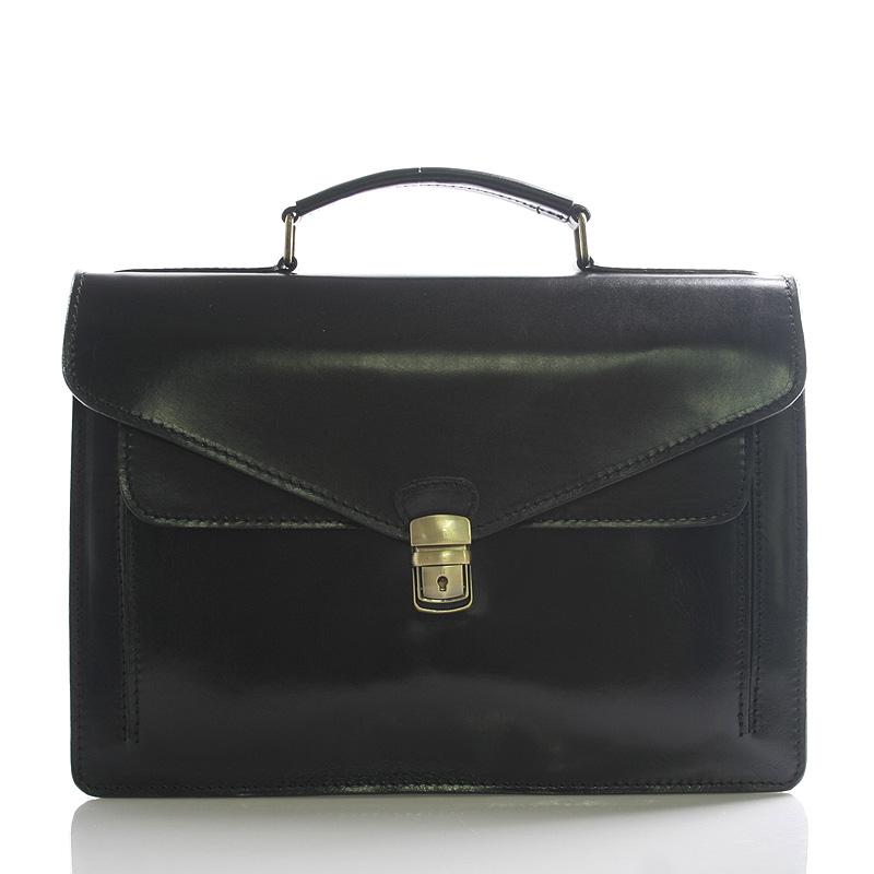Luxusní černá kožená aktovka ItalY Kevin
