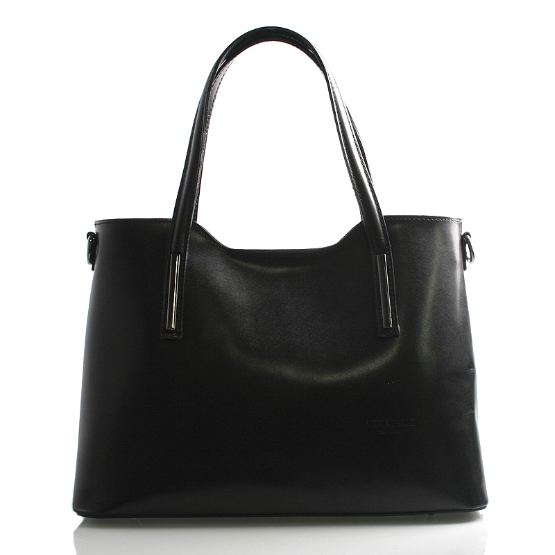 Větší kožená kabelka černá - ItalY Sandy