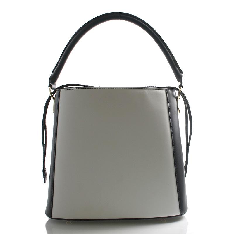 Černo bílá luxusní kožená kabelka ItalY Patricia