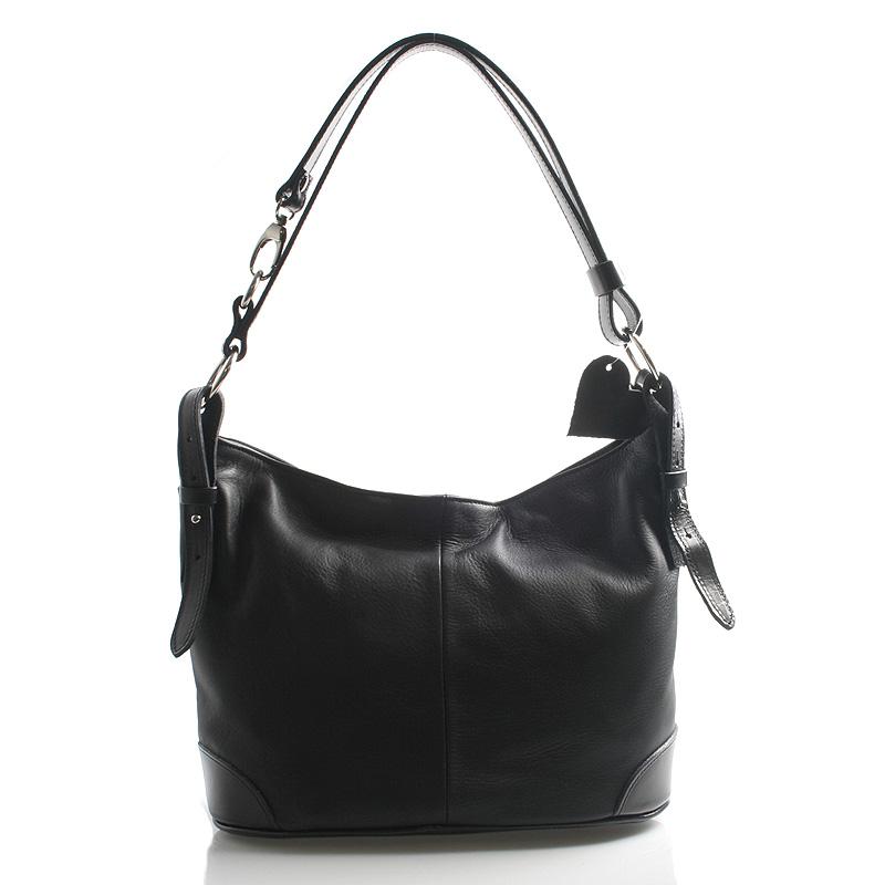 Černá kožená kabelka přes rameno crossbody ItalY Harmony