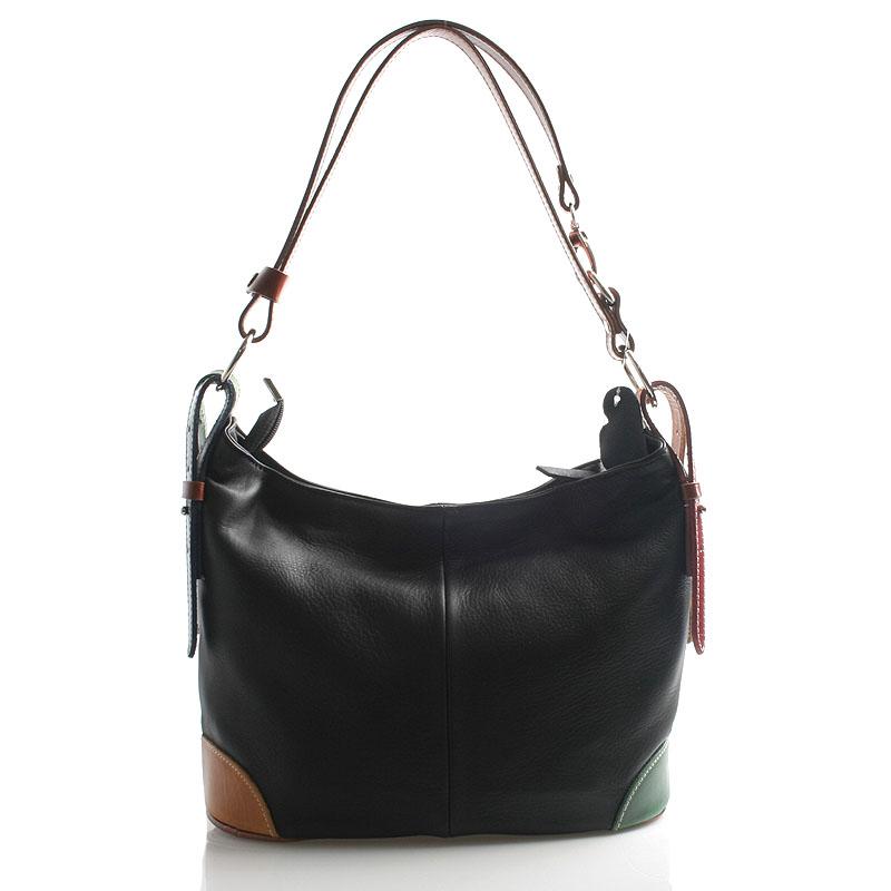 Černo barevná kožená kabelka přes rameno crossbody ItalY Harmony