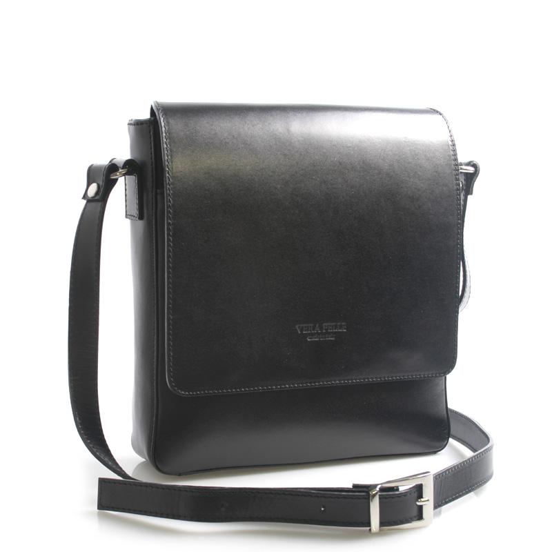 Luxusní černá kožená taška přes rameno ItalY Crosby