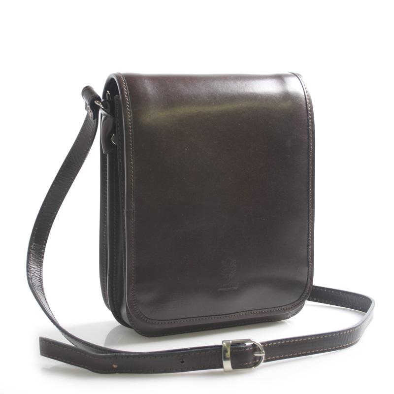 Luxusní tmavě hnědá kožená taška přes rameno ItalY Harper