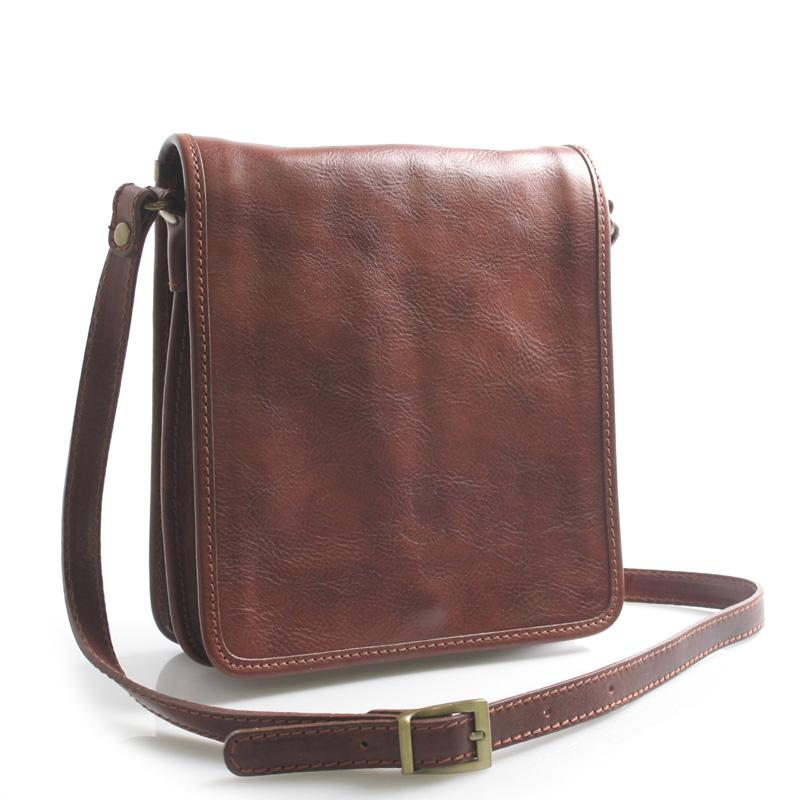 Luxusní hnědá kožená taška přes rameno ItalY Alonzo