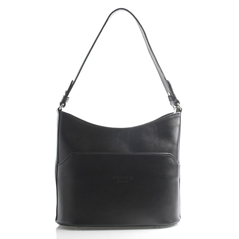 Černá kožená kabelka přes rameno ItalY Lydia