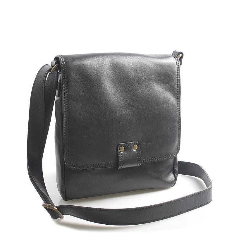 Luxusní černá kožená taška přes rameno ItalY Tristen