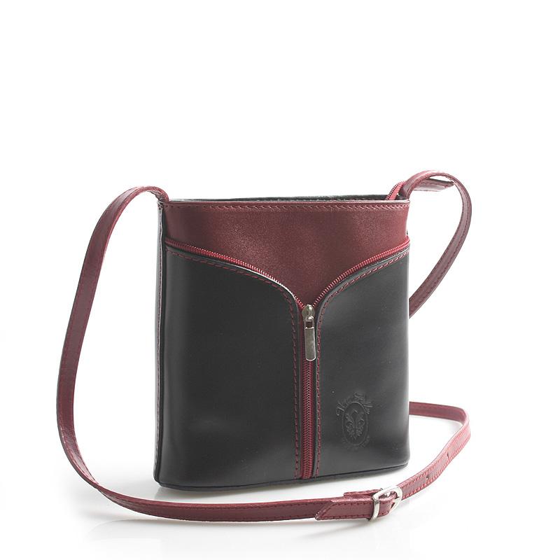 Černo červená kožená crossbody kabelka ItalY Hallie