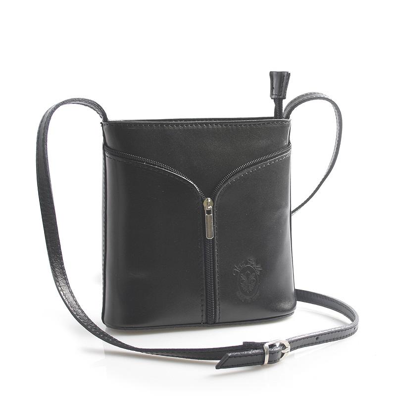 Černá kožená crossbody kabelka ItalY Hallie