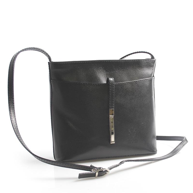 Černá kožená crossbody kabelka ItalY Aneta