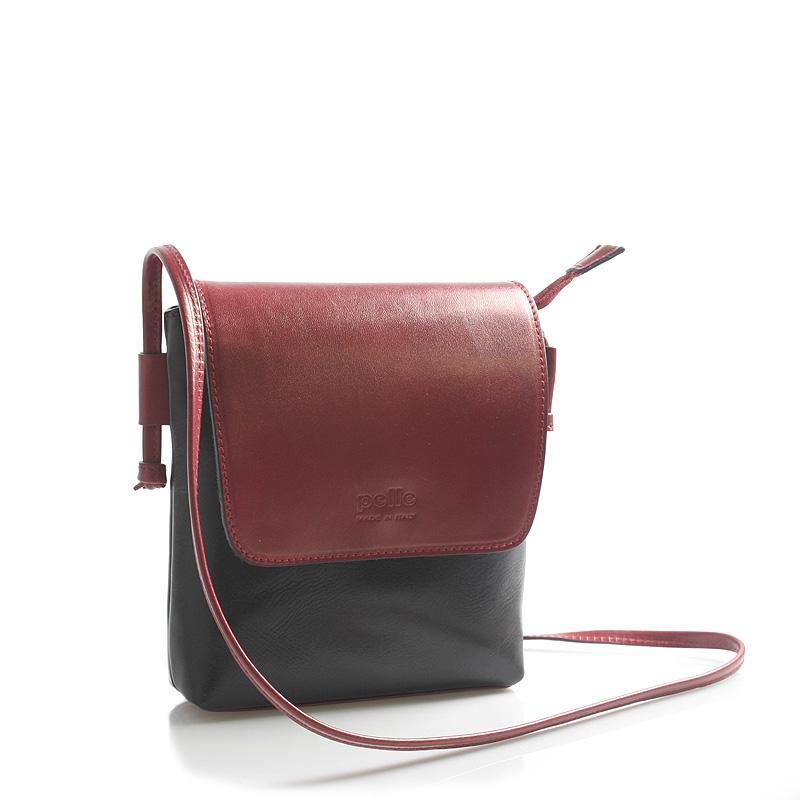 Červeno černá kožená crossbody kabelka ItalY Tamia
