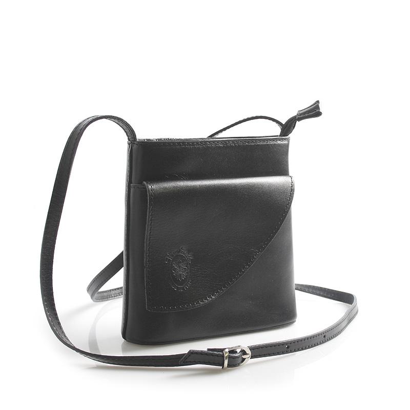 Dámská kožená crossbody kabelka černá - ItalY Cora